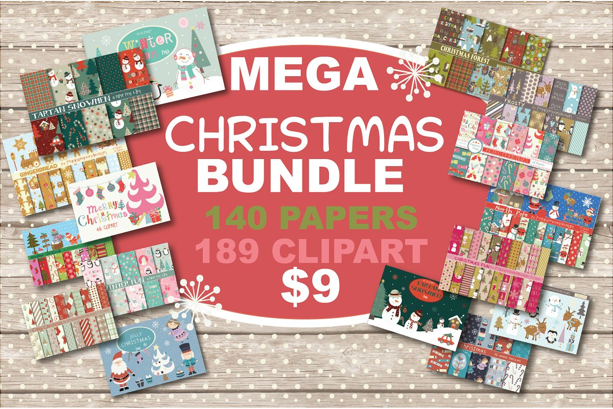 mega christmas bundle clipart and paper for scrapbookers and designers